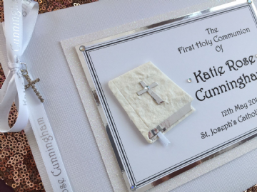 1st Holy Communion Guest Book - White & Silver